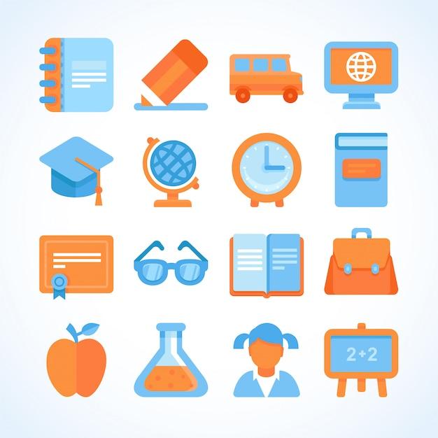 Platte vector icon set van onderwijs symbolen Premium Vector