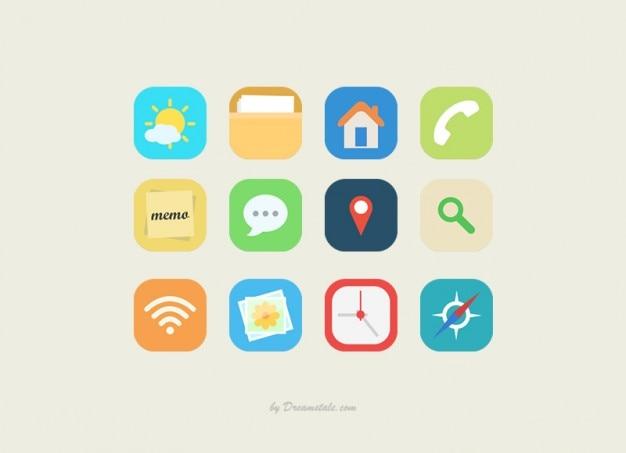 platte vector iconen collectie vector gratis download. Black Bedroom Furniture Sets. Home Design Ideas