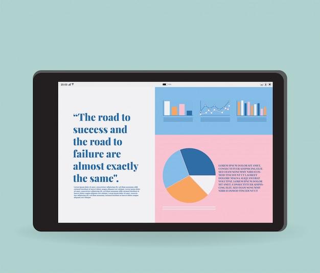 Platte vector van tablet Premium Vector