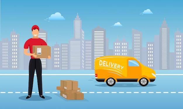 Platte vector vracht levering service achtergrond Premium Vector
