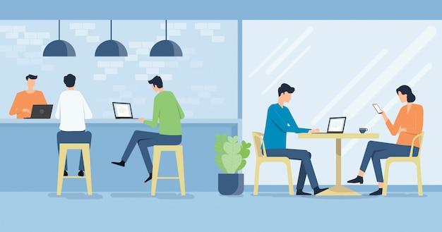 Platte vector werken op werkplek café en zakelijke team vergadering concept Premium Vector