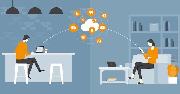 Platte vector zakelijke slimme werken en online werken elk werkplekconcept Premium Vector
