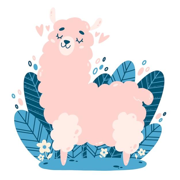 Platte vectorillustratie van schattige cartoon roze lama. kleur illustratie van een lama in doodle stijl. Premium Vector