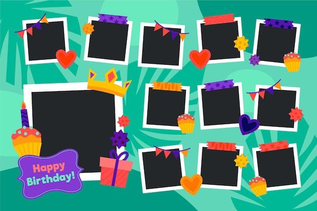 Platte verjaardag collage frame pack Gratis Vector