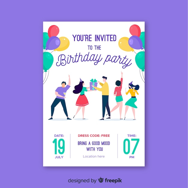 Platte verjaardag verjaardag uitnodiging sjabloon Gratis Vector