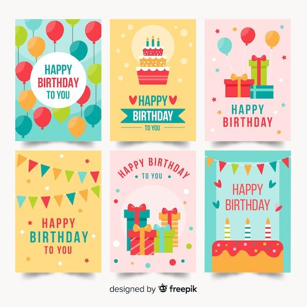 Platte verjaardagskaartcollectie Gratis Vector