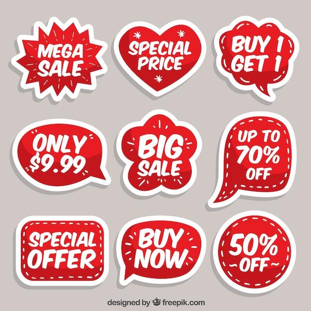 Platte verkoop label / badge collectie Gratis Vector