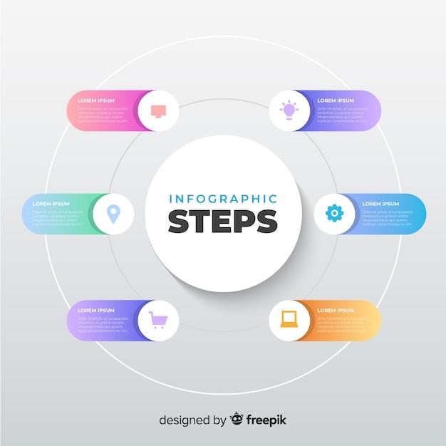 Platte verloop infographic stappen Gratis Vector