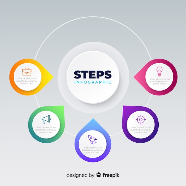 Platte verloop infographic stappen Gratis Vector