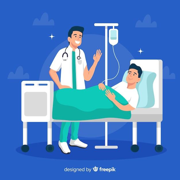 Platte verpleegster met patiënt Gratis Vector
