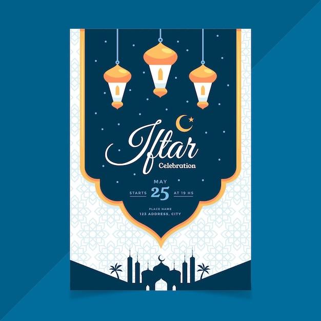 Platte verticale iftar poster sjabloon Gratis Vector