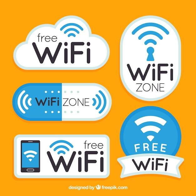 Platte verzameling fantastische wifi stickers Gratis Vector