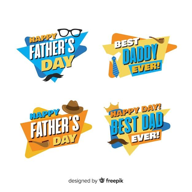 Platte verzameling vadersdag-badge Gratis Vector