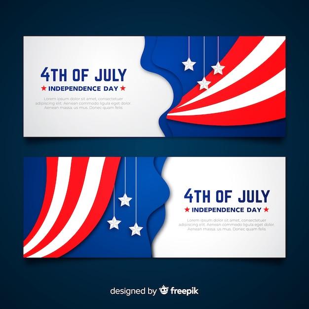 Platte vierde van juli banners Gratis Vector