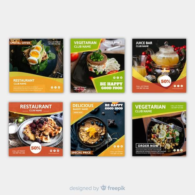 Platte vierkante voedsel fotografische banner Gratis Vector