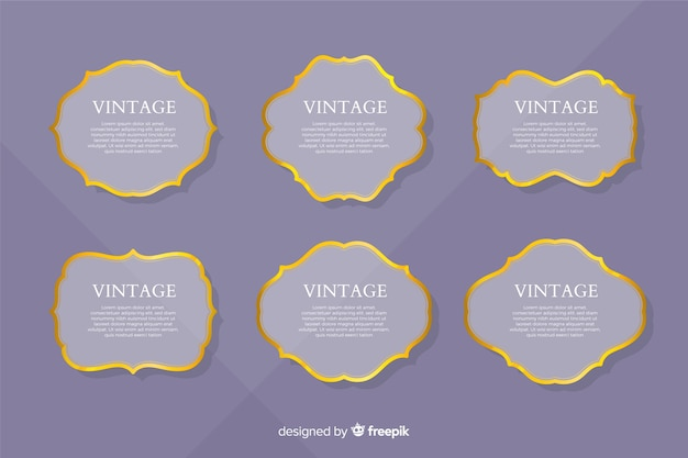 Platte vintage gouden frame-collectie Gratis Vector