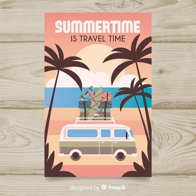 Platte vintage reisposter met een busje Gratis Vector