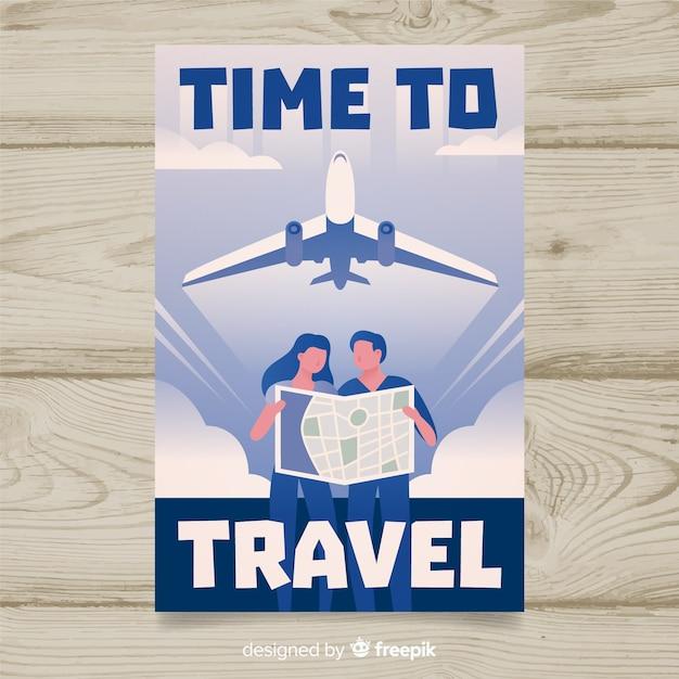 Platte vintage reizen poster met vliegtuig Gratis Vector