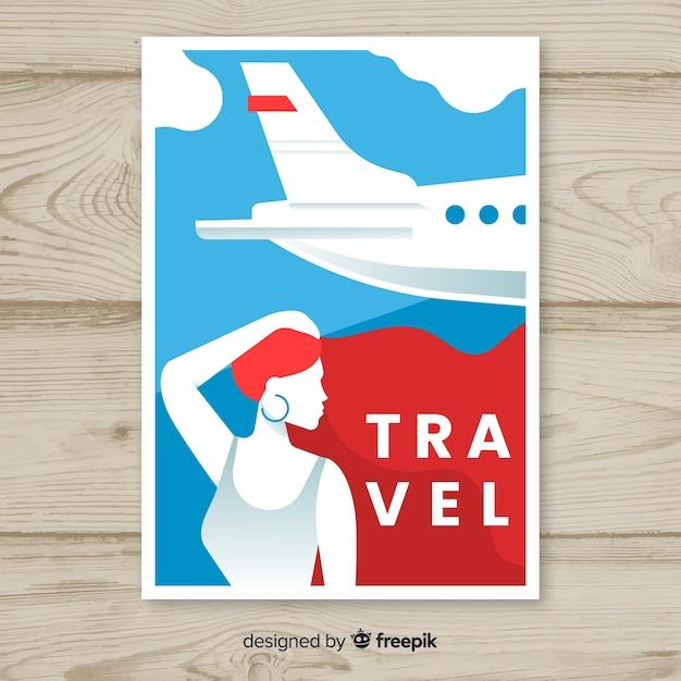 Platte vintage reizen poster sjabloon Gratis Vector