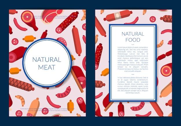 Platte vlees en worst pictogrammen kaart of folder sjabloon illustratie Premium Vector