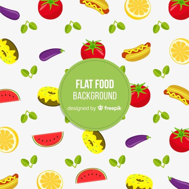 Platte voedsel achtergrond Gratis Vector