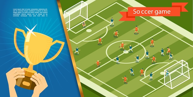 Platte voetbalwedstrijd sjabloon Gratis Vector