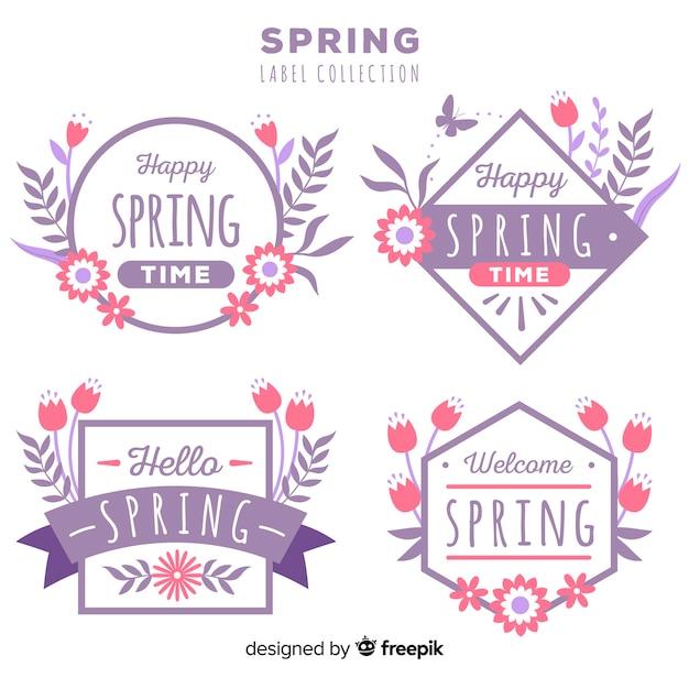 Platte voorjaar badge collectie Gratis Vector