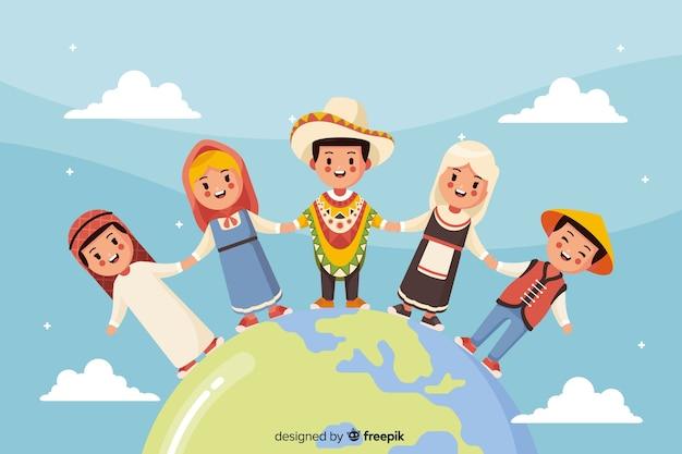 Platte vredesdag achtergrond met kinderen Gratis Vector