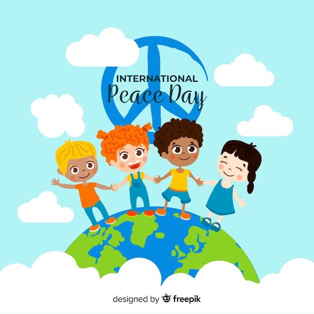 Platte vredesdag met kinderen en vredesteken Gratis Vector