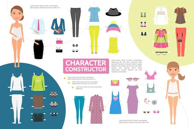 Platte vrouw karakter creatie infographic concept Gratis Vector