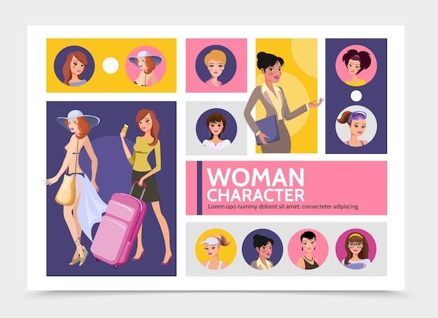 Platte vrouw tekens avatars infographic sjabloon met reizende meisjes sportvrouwen Gratis Vector