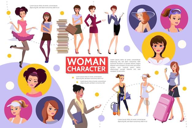 Platte vrouw tekens infographic concept Gratis Vector