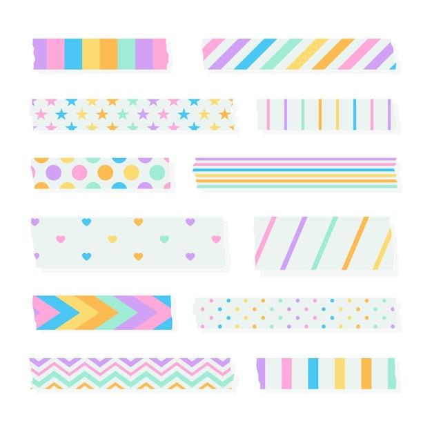 Platte washi-tape-collectie Gratis Vector