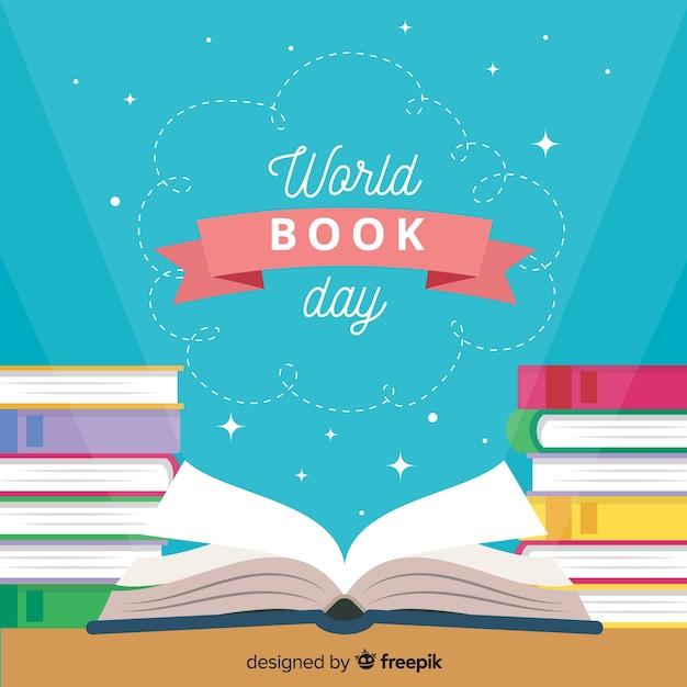 Platte wereld boek dag achtergrond Gratis Vector