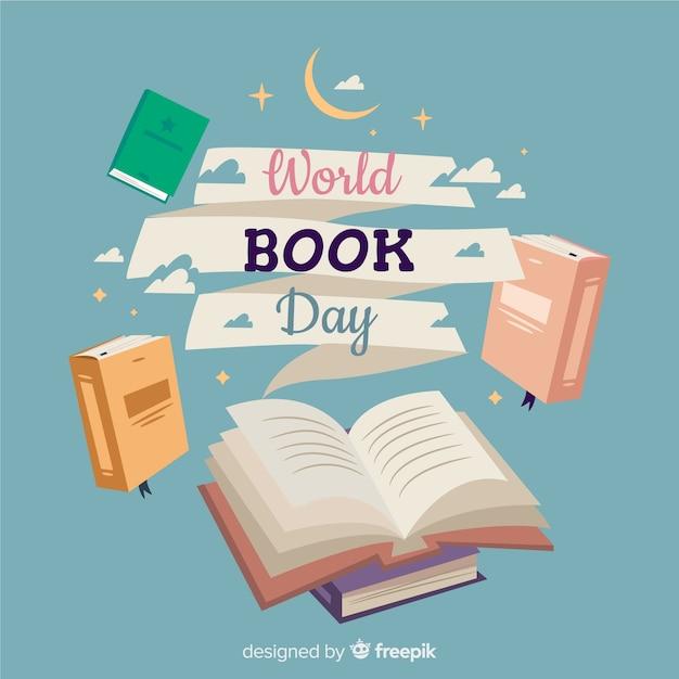 Platte wereld boek dag banners Gratis Vector