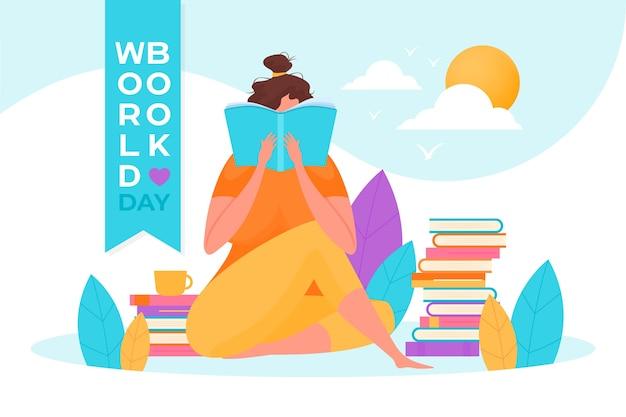 Platte wereld boek dag concept Gratis Vector
