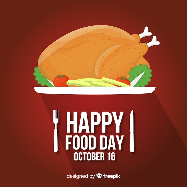Platte wereld eten dag met bemande kip Gratis Vector