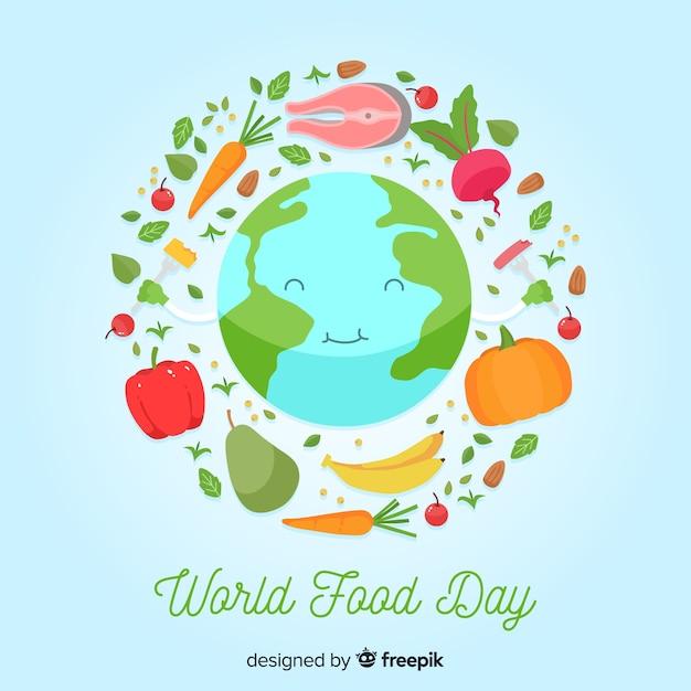 Platte wereld eten dag met gelukkige planeet aarde Gratis Vector
