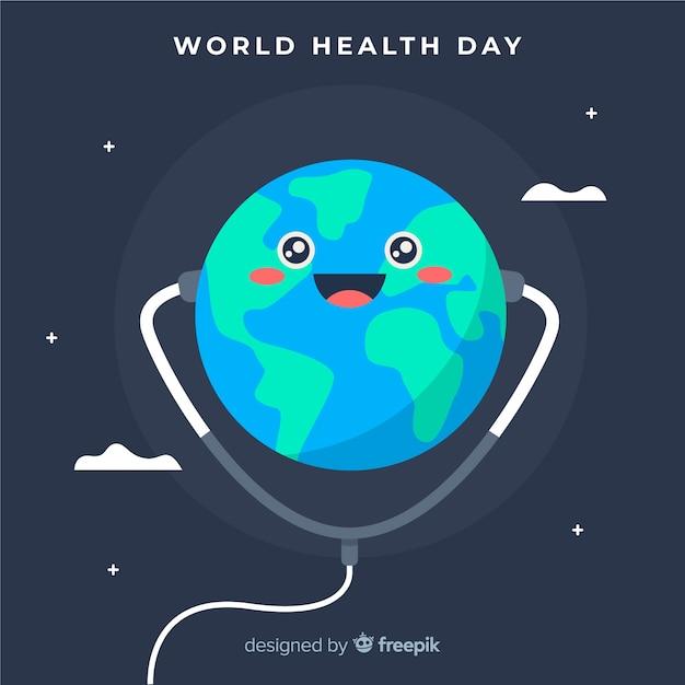 Platte wereld gezondheid dag achtergrond Gratis Vector