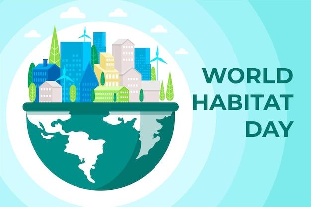 Platte wereld habitat dag concept Premium Vector