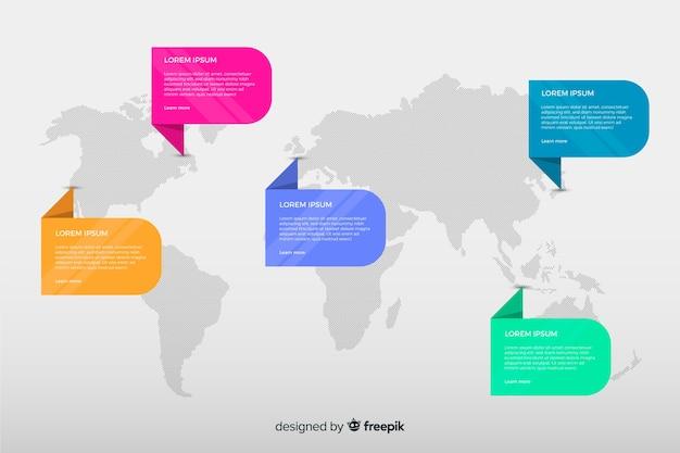 Platte wereld kaart infographic analyse Gratis Vector