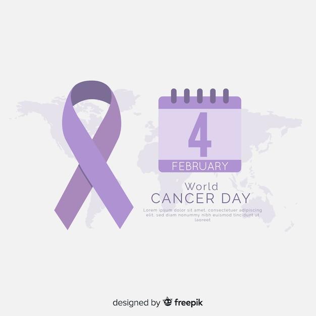 Platte wereld kanker dag achtergrond Gratis Vector