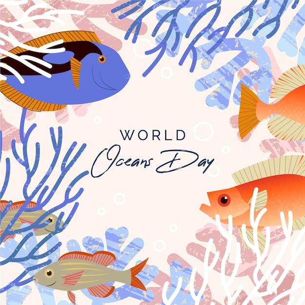 Platte wereld oceanen dag achtergrond Gratis Vector