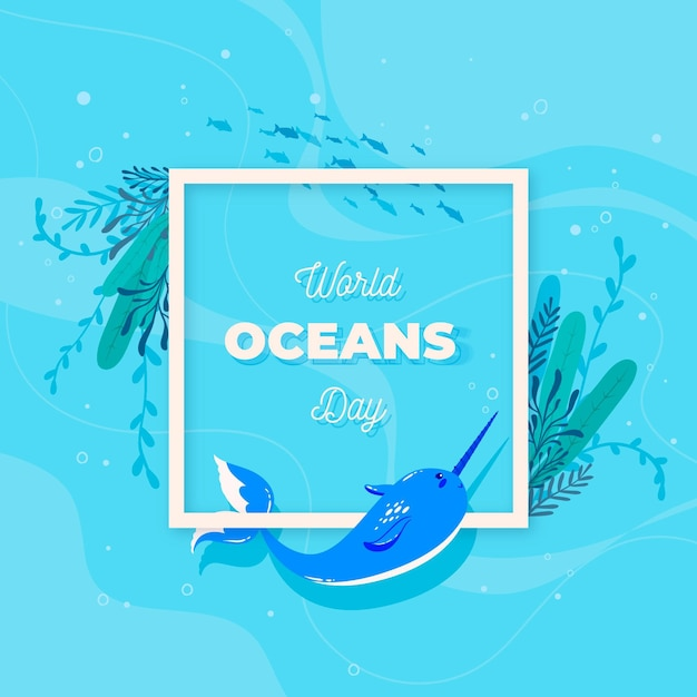 Platte wereld oceanen dag Gratis Vector