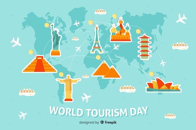 Platte wereld toerisme dag achtergrond Gratis Vector
