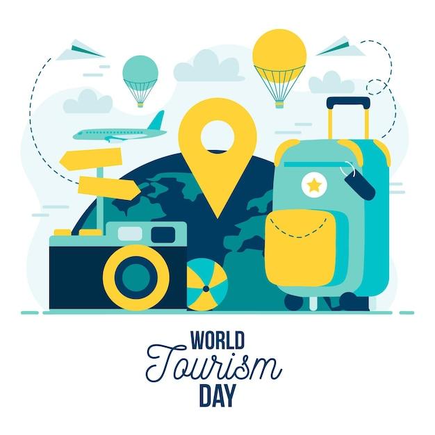Platte wereld toerisme dag concept Gratis Vector