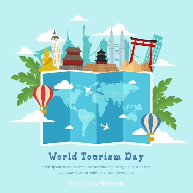 Platte wereld toerisme dag Gratis Vector