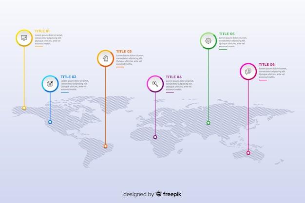 Platte wereldkaart infographic ontwerpsjabloon Gratis Vector
