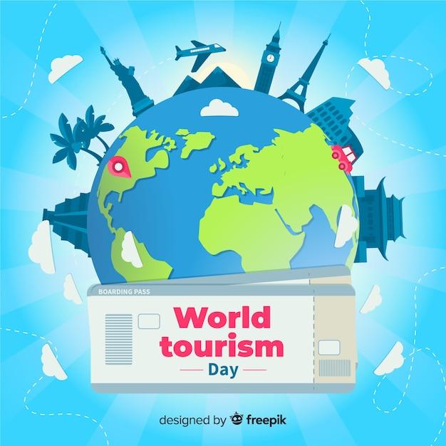 Platte wereldtoerismedag met kaartjes Gratis Vector