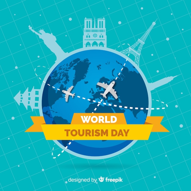 Platte wereldtoerismedag met vliegtuigroutes Gratis Vector